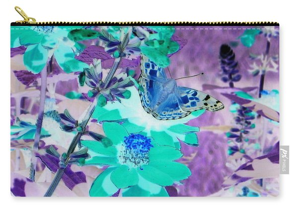 Blue Butterfly And Teal Flowers Carry-all Pouch