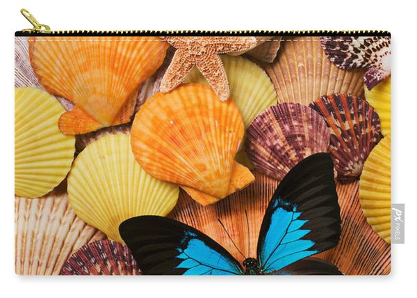 Blue Butterfly And Sea Shells Carry-all Pouch