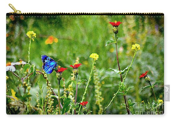 Blue Butterfly In Meadow Carry-all Pouch