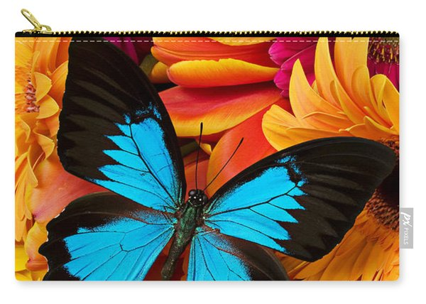 Blue Butterfly On Brightly Colored Flowers Carry-all Pouch