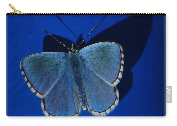 Blue Butterfly White Edge Carry-all Pouch