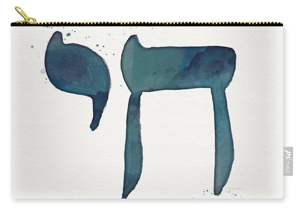 Blue Chai- Hebrew Art By Linda Woods Carry-all Pouch