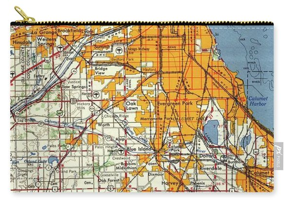 Blue Chicago Old Map, Orange Map Carry-all Pouch