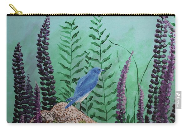 Blue Chickadee Standing On A Rock 1 Carry-all Pouch
