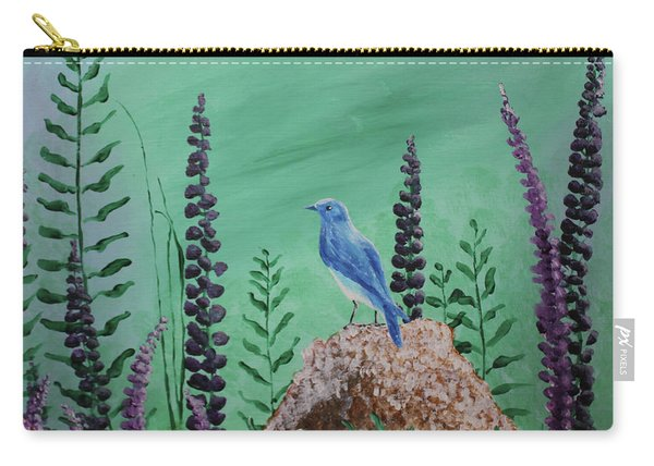 Blue Chickadee Standing On A Rock 2 Carry-all Pouch
