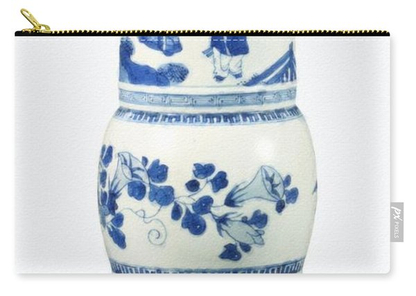 Blue  Chinese Chinoiserie Pottery Vase No 3 Carry-all Pouch