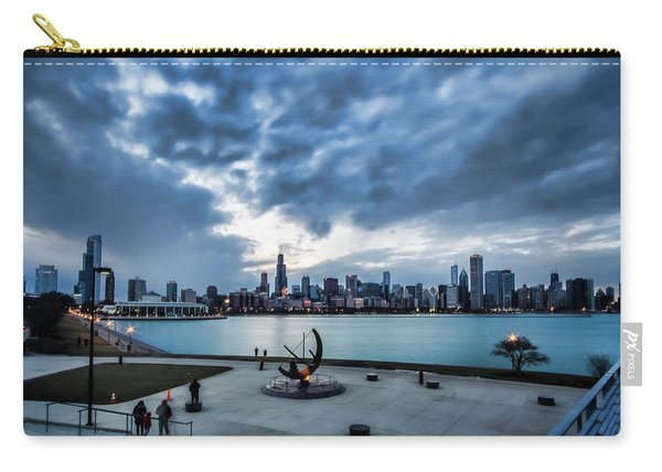 Blue Clouds And Chicago Skyline Carry-all Pouch