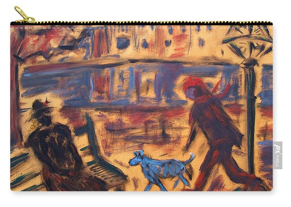 Blue Dog In The City Carry-all Pouch
