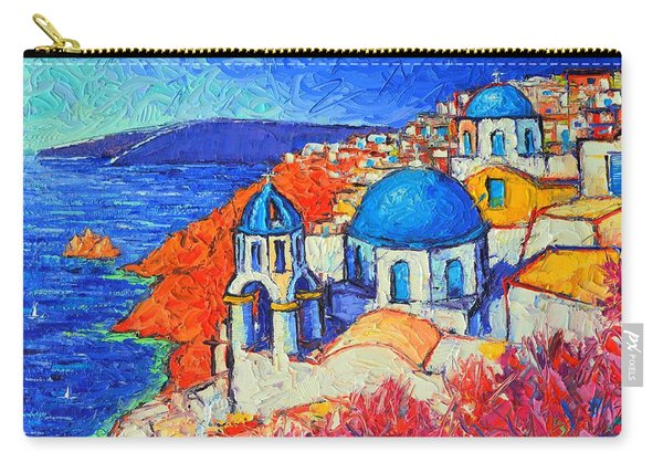 Blue Domes In Oia Santorini Greece Original Impasto Palette Knife Oil Painting By Ana Maria Edulescu Carry-all Pouch