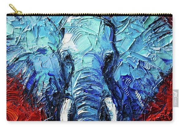 Blue Elephant Palette Knives Impasto Abstract Oil Painting Carry-all Pouch
