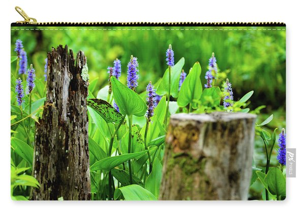 Blue Flowers And Artistic Logs Carry-all Pouch
