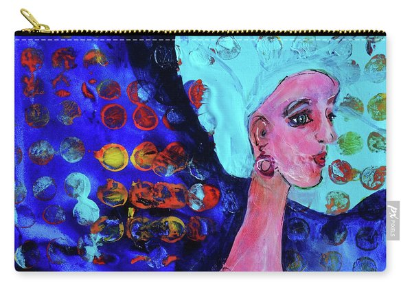 Blue Haired Girl On Windy Day Carry-all Pouch