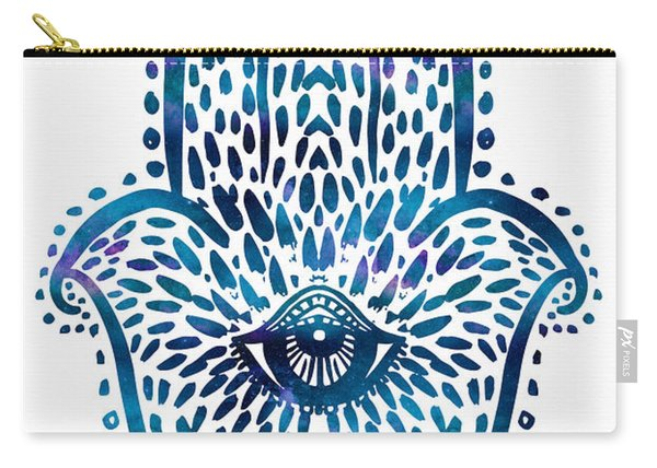 Blue Hamsa Hand Carry-all Pouch