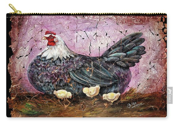 Blue Hen With Chicks Fresco Black Background Carry-all Pouch