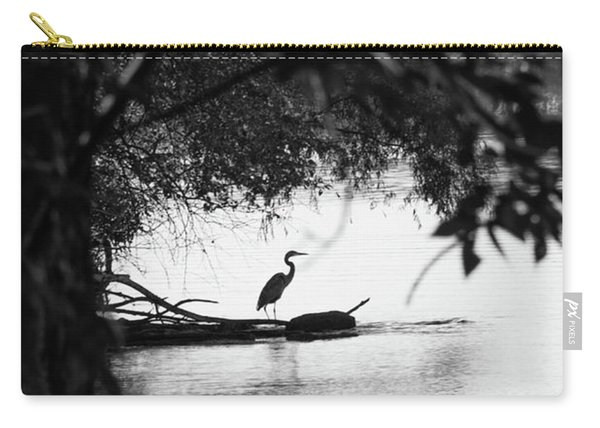 Blue Heron In Black And White. Carry-all Pouch
