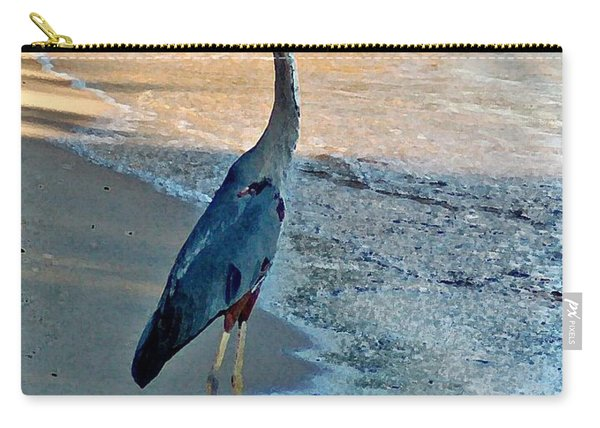 Blue Heron On The Beach Close Up Carry-all Pouch