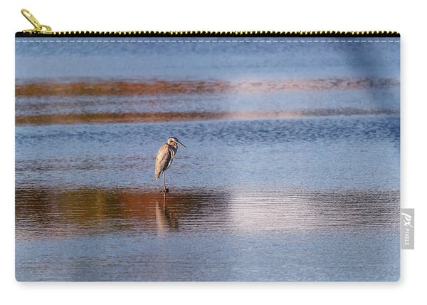 Blue Heron Standing In A Pond At Sunset Carry-all Pouch