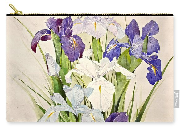 Carry-all Pouch featuring the painting Blue Irises-posthumously Presented Paintings Of Sachi Spohn  by Cliff Spohn
