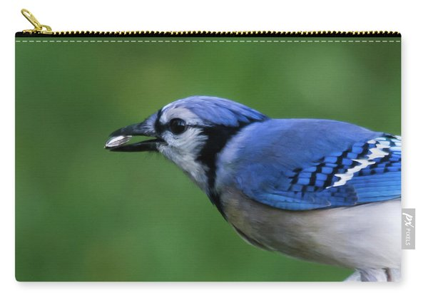 Blue Jay With Seed Carry-all Pouch