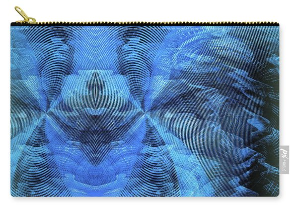 Carry-all Pouch featuring the digital art Blue Kitty by Visual Artist Frank Bonilla