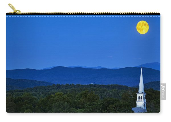 Blue Moon Rising Over Church Steeple Carry-all Pouch