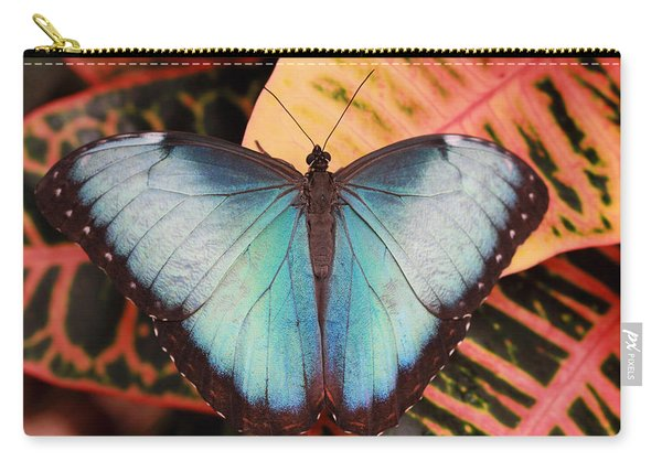Blue Morpho On Orange Leaf Carry-all Pouch
