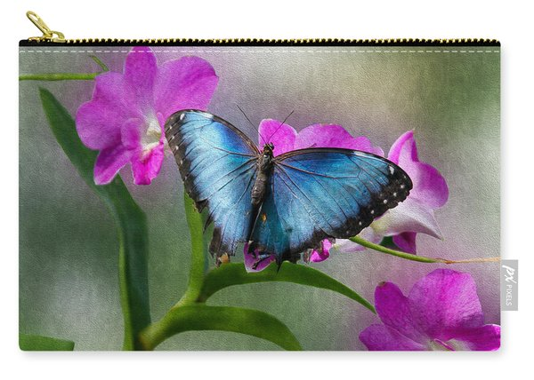 Blue Morpho With Orchids Carry-all Pouch