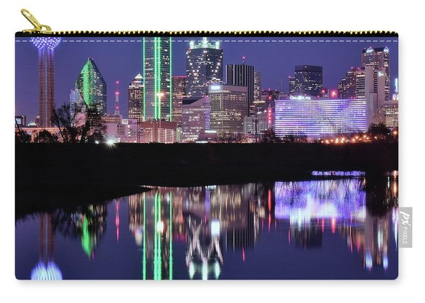 Blue Night And Reflections In Dallas Carry-all Pouch