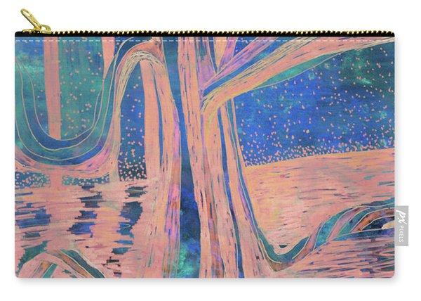 Blue-peach Dawn River Tree Carry-all Pouch