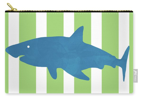 Blue Shark 1- Art By Linda Woods Carry-all Pouch