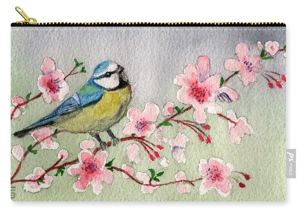 Blue Tit Bird On Cherry Blossom Tree Carry-all Pouch