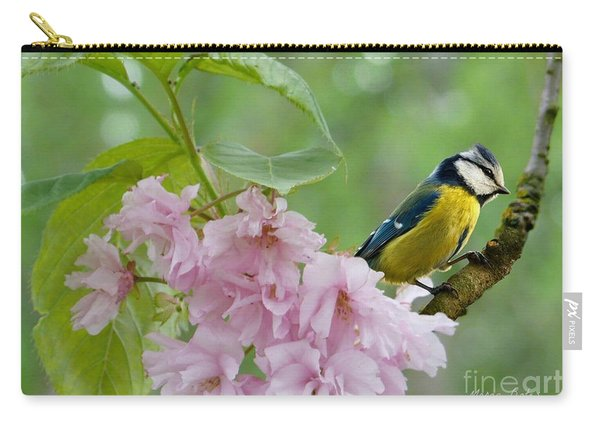 Blue Tit On Cherry Blossom Carry-all Pouch