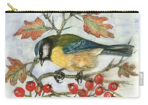 Blue Tit On Hawthorn Carry-all Pouch