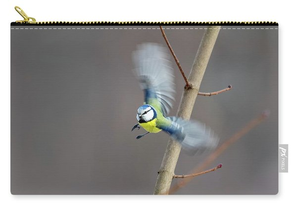 Blue Tit In Flight Carry-all Pouch