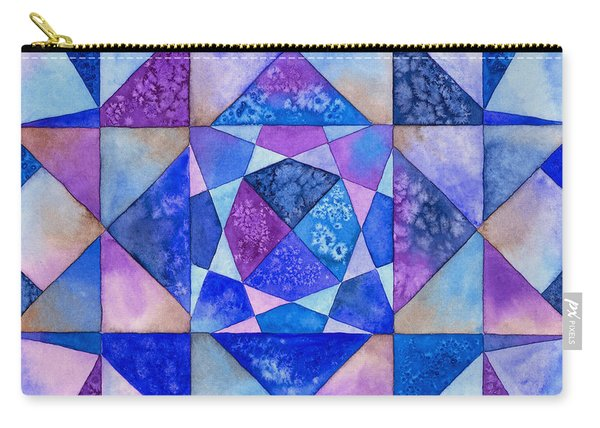 Blue Watercolor Quilt Carry-all Pouch