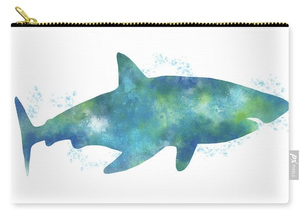 Blue Watercolor Shark- Art By Linda Woods Carry-all Pouch