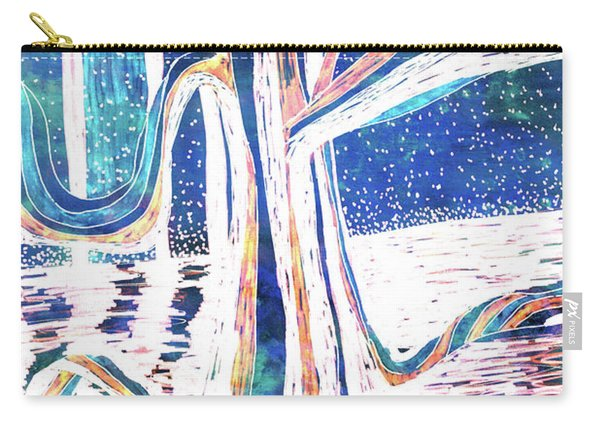 Blue-white Full Moon River Tree Carry-all Pouch