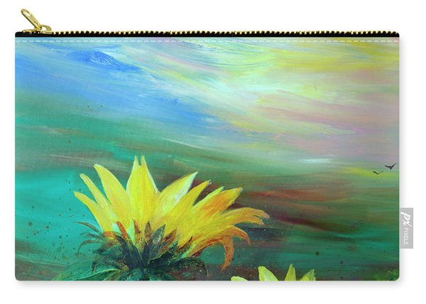 Bluebird Flying Over Sunflowers Carry-all Pouch
