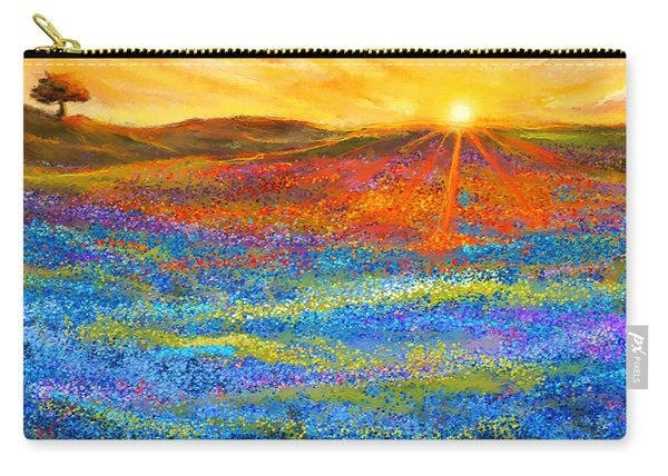 Bluebonnet Horizon - Bluebonnet Field Sunset Carry-all Pouch