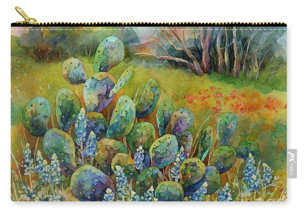 Bluebonnets And Cactus Carry-all Pouch