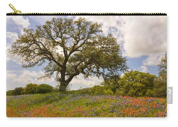 Bluebonnets Paintbrush And An Old Oak Tree - Texas Hill Country Carry-all Pouch