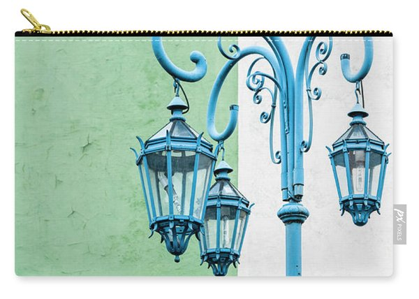 Blue,green And White Carry-all Pouch