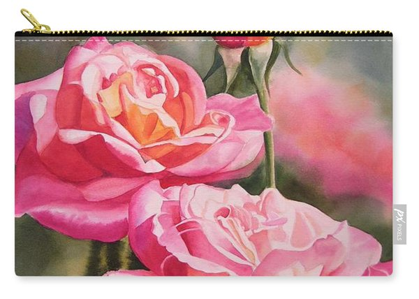 Blushing Roses With Bud Carry-all Pouch