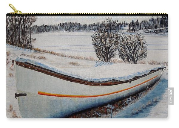 Boat Under Snow Carry-all Pouch