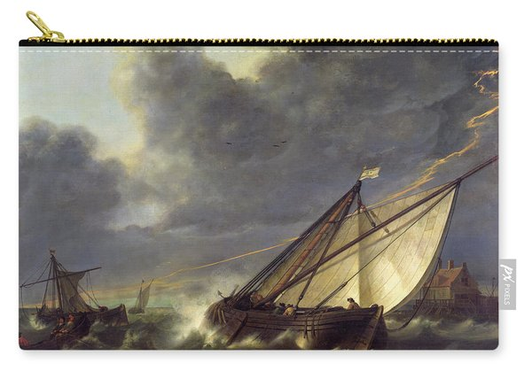 Boats In The Estuary Of Holland Diep In A Storm Carry-all Pouch