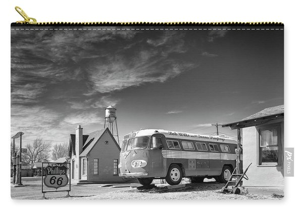 Carry-all Pouch featuring the photograph Bob Wills And The Texas Playboys Tour Bus Turkey Tx by Mary Lee Dereske