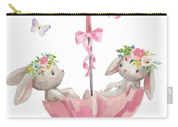Boho Bunny Rabbits Bunnies Umbrella Watercolor Nursery Wall Art Print Pillow Carry-all Pouch