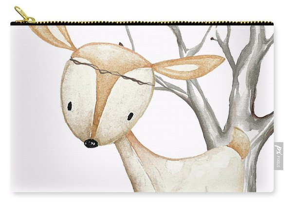 Boho Woodland Baby Nursery Deer Twine Watercolor Carry-all Pouch