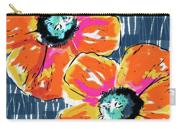 Bold Orange Poppies- Art By Linda Woods Carry-all Pouch