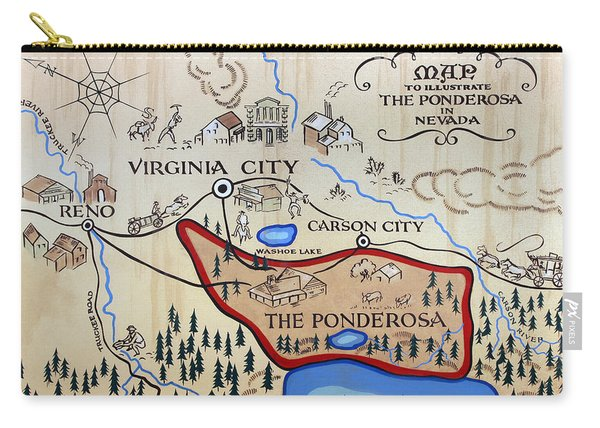 Bonanza Series Ponderosa Map  1959 Carry-all Pouch